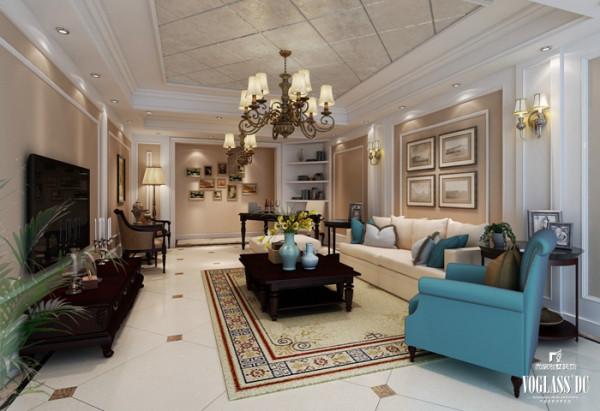 现代美式追求华丽、高雅的古典风格,因此设计师将客厅空间的主色调设置为浅色。同时在选用家具时等配饰产品时,也较多的选用了拥有古典弯腿式的家具。