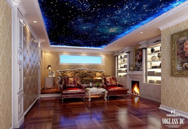 影音室的设计也极尽奢华,同时增加了仿真壁炉作为设计的亮点,隔音与保持是影音室的重点。