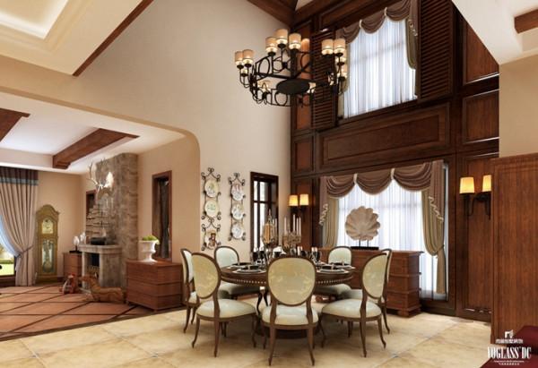 别墅的餐厅另有一番风味。最显著的特点就是空间高,设计没有改变原空间结构,而以古朴的颜色将这种风格进行渲染,并在餐厅顶部设计铁艺吊灯,华灯闪烁,每饮美酒,已不觉心醉神迷。
