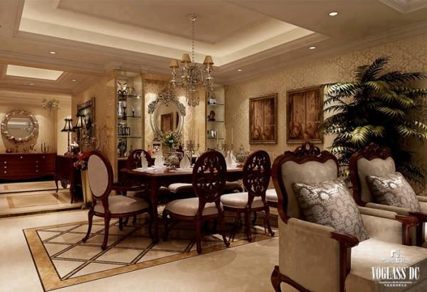 镜子与玻璃的使用是相对于传统古典的突破。连接在一起的餐厅和客厅中拥有镜子与玻璃,用金色的外漆表明这是新古典风格中不可或缺的元素,同时用明亮的镜面表现这是对新材料的突破与尝试!