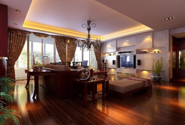 一大片的透明玻璃窗,使二楼的客厅阳光充足,整个空间稳重的同时不失明亮
