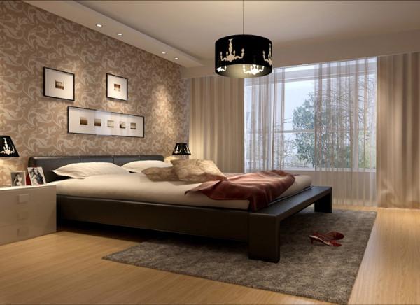 卧室是一天忙碌下来的休闲放松之地,同时也镂空雕花设计的吊灯、黑色木质的双人床、美丽花纹的暖色壁纸、造型呼应的床头灯、柔软的地毯、浅色木质地板,整体结合在一起,营造温馨、舒适的私密空间。