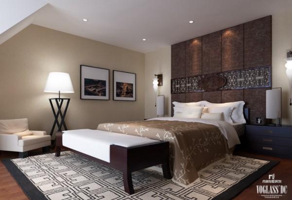主卧床头背景处,摒弃了传统设计的繁复造型纹路,而是尽量将其简化,保留了中式传统的围合意境也更符合现代人的审美情趣和精神追求