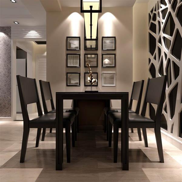 效果说明:餐厅墙面茶镜暗花显现空间高端大气,同时与地面砖颜色相呼应,可谓是低调的华丽。