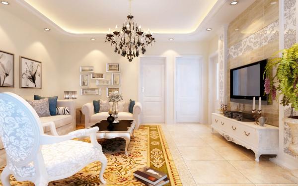 简欧客厅设计理念:客厅的米白色墙面发出的是淡雅温馨的现代简欧味道,时尚的米白色调沙发与电视背景墙的呼应,让整个客厅营造出时尚、高贵、轻松、愉悦的视觉感空间,营造出一个朴实之中的时尚简欧家居设计。