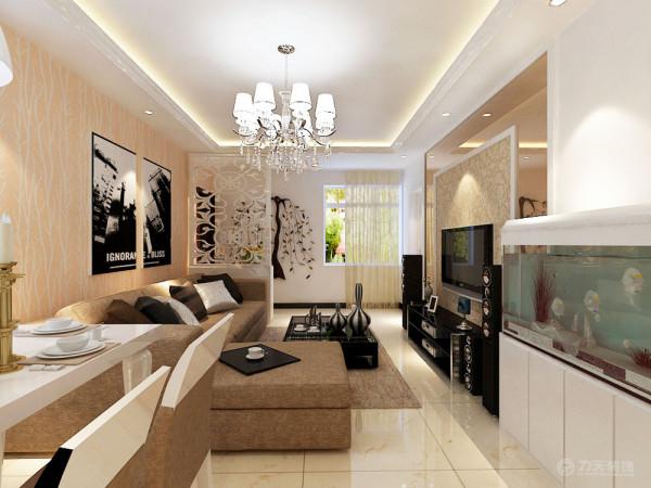 室内布置是以咖、白色家具为主,对比色比较强。客厅的电视背景墙是以石膏线圈边,将壁纸与茶镜的融合,凹凸有致,立体感较强,墙体是以白色壁纸为整体,电视柜是以不锈钢和镜子组成,显的整个空间比较亮堂。