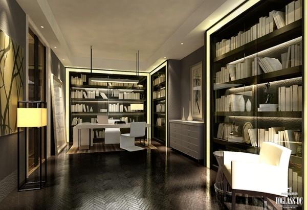 书房位于主卧室空间内,形成独立套房,呈现了丰富的别墅空间设计表情。通过简洁、大方的造型营造出富有生命力和文化内涵的艺术空间