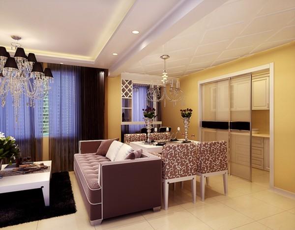 餐厅宽敞舒适的餐厅设计理念:餐厅的吊顶网格造型简洁时尚,低垂而下的欧式吊灯,配上欧式的餐桌椅,洋溢着典雅,高贵的浪漫气息。