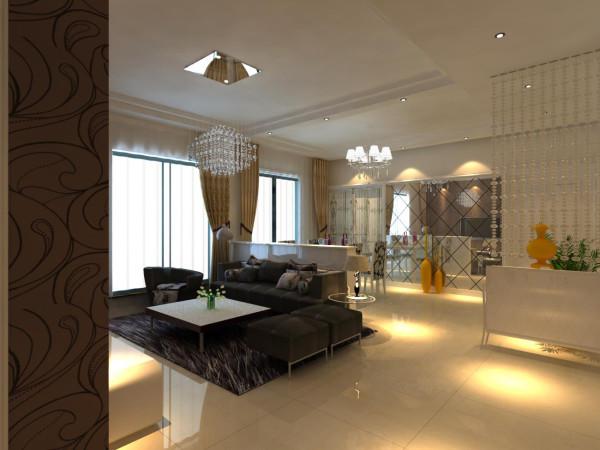 高速奥兰花园两居室简单优雅婚房设计装修设计【客厅设计装修效果图】