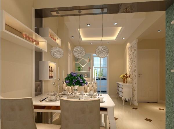 餐厅设计的一个特色就是,在梁处顶面和墙面用烤漆玻璃装饰,不仅时尚美观,更使整个空间更加统一和谐。