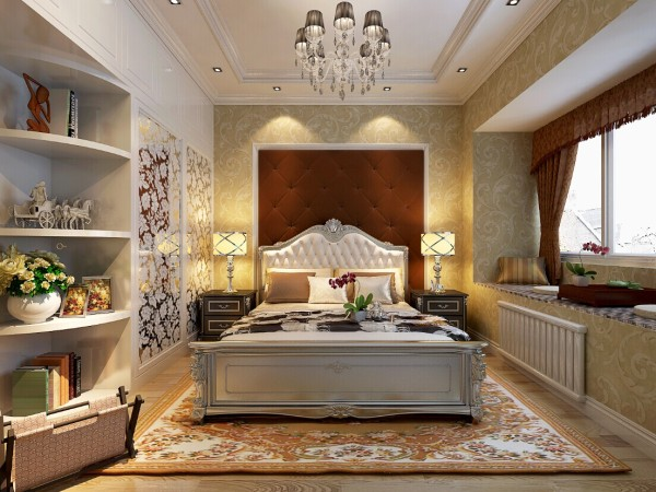 卧室的飘窗处,设计成茶桌式,是放松心情的好场所。从整体温馨低调奢华的室内设计业能看出业主的生活品味和追求