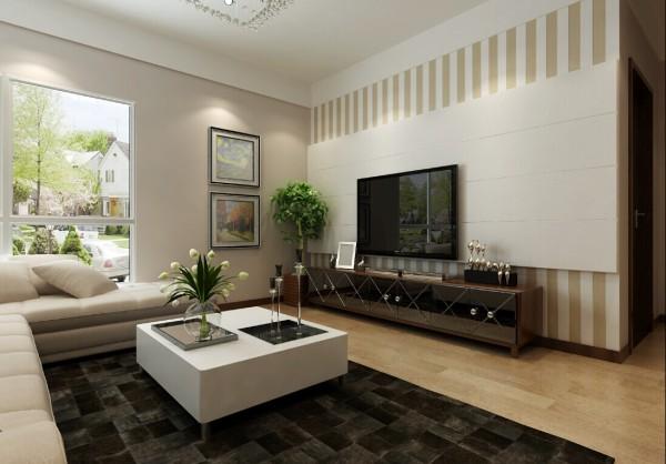 客厅的电视背景墙用暖色的条纹壁纸点缀,白色石膏板做为主背景,给人一种时尚大气的感觉,同时不失温馨感觉。