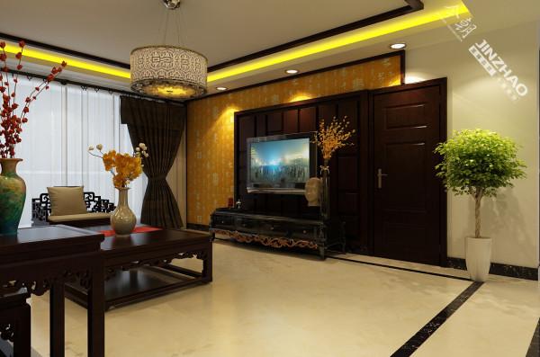 电视背景墙相对较短,把背景墙和次卧门做了融合效果的色系,整体美观且实用。