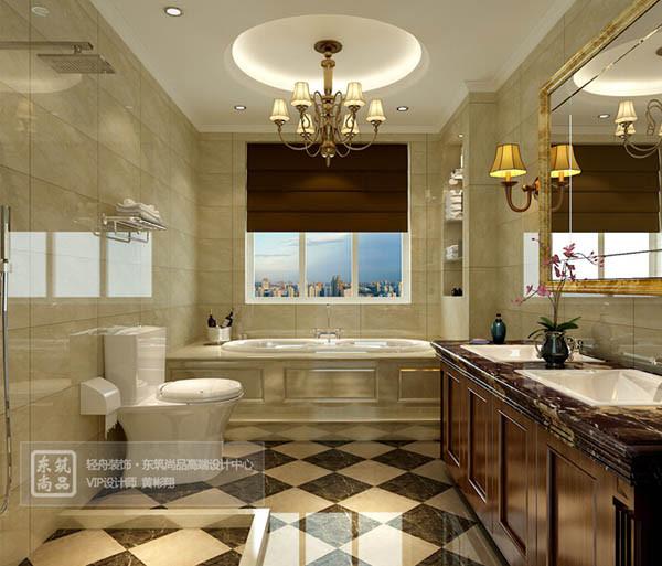 设计说明:卫生间瓷砖选用微晶石瓷砖和实木浴室柜,体现豪华尊贵