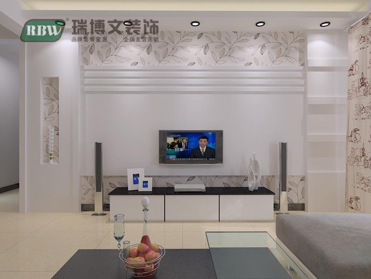 首页 装修效果图 电视墙部分,根据户型的特点用石膏板的造型,在用壁纸