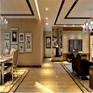宽敞的过道将客厅与餐厅分隔开,客厅与餐厅设计上相统一,相呼应。