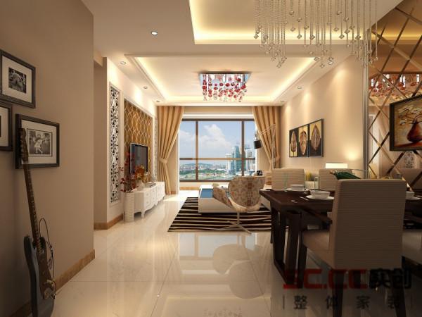 客厅整体吊顶与餐厅一体,在餐桌上方与沙发上方留出空白,让空间感更强,客厅沙发背景墙位置抽象画做装饰