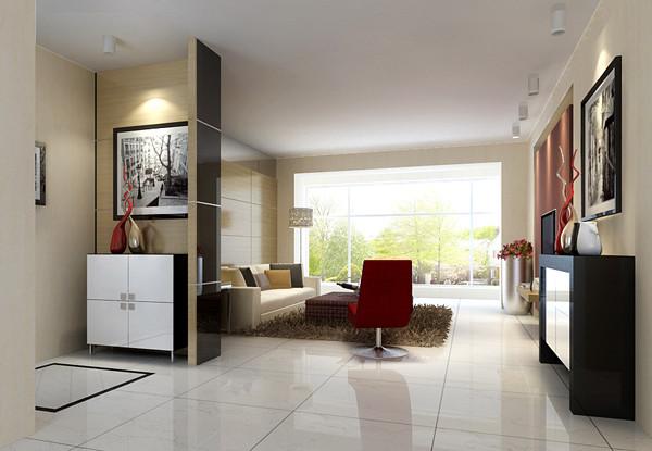 客厅设计说明:简洁的沙发和茶几,用色彩与木饰面板处理的背景墙,体现了业主自身的居室风格。