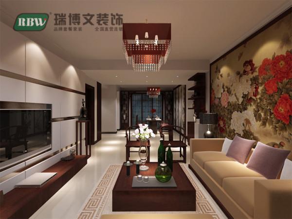 此图中,显示的为客餐厅的整体效果,白色纯洁的电视墙,及辅助的卡其色烤漆玻璃条,再配以米黄色的沙发,艳丽的紫色靠枕,中式的地毯,红胡桃木的家具,一切的颜色与材质都在凸显中式的大气。