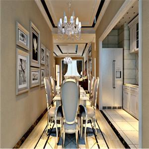 时尚的餐厅,采用和客厅相同设计的吊顶、地砖拼花,强调风格上的统一性,旁边就是开放式厨房。