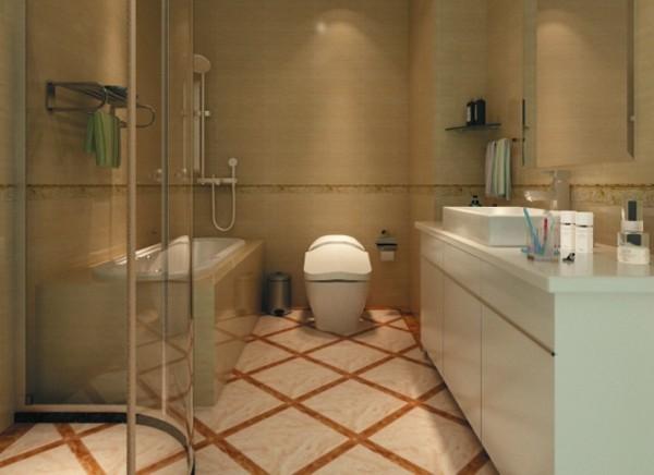 设计理念:方形的地砖余花片的搭配很时尚,与墙面的颜色又相互联系。 亮点:地面铺装很有新意,让人眼前一亮。