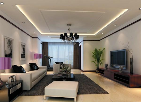 设计理念:地面采用米色的地砖,在黑白灰的色调中给人一丝温暖。 亮点:踢脚线与石膏线相互呼应