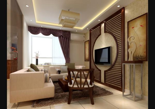 现代时尚的布衣沙发与中式的实木椅形成和谐的搭配,咖啡色的电视背景木纹屏风,体现中式圆满的意念,加上与之呼应的线帘和雕花玻璃,将两种完全不同的风格混搭成别一番滋味。