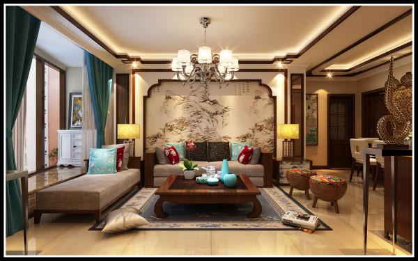 新中式 三居 客厅 厨房 餐厅 白领图片来自石家庄业之峰...