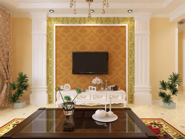 客厅电视背景墙,用石膏板做成仿罗马柱,体现欧式风情,在张贴欧式壁纸更好的体现了整体风格的定位。