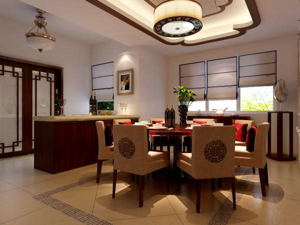 水榭山-中式风格-餐厅效果图