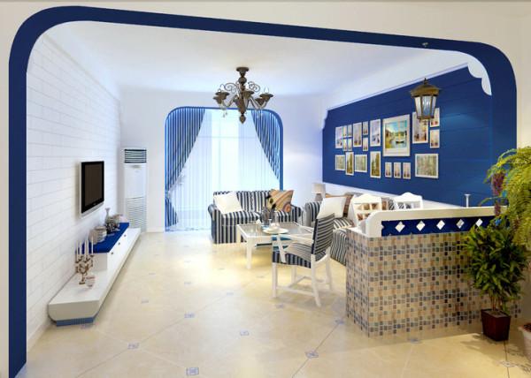 水榭山-地中海风格-客厅效果图