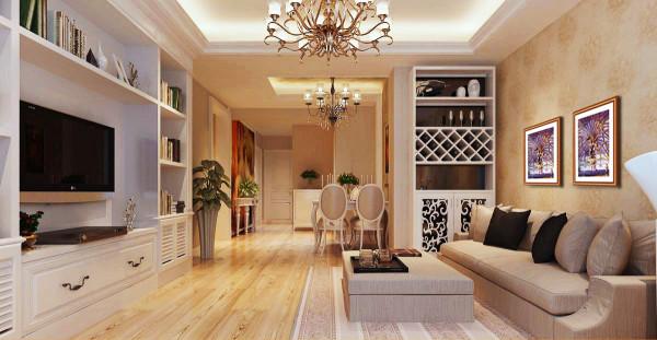 主题为现代简约风格,浅色调搭配深纹理飘窗台面,让居室有明显的层次划分,简约时尚电视墙与直线灯池造型相结合,彰显居室前卫。