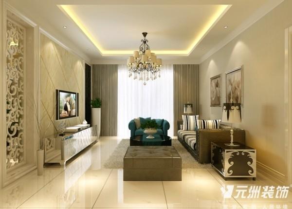 客厅:整体造型选用了石材,体现庄重贵气的氛围,大面以浅色为主,给人又有传统的感觉。 次卧室:次卧室为女孩房,小碎花壁纸显得活泼可爱。 地面:微晶玉石、仿古砖
