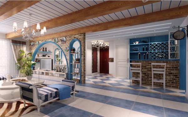 吧台区域是业主的大爱。吧台不需要多好的采光,通过顶面石膏叠级设计内嵌蓝色反  光灯带再加上LED筒灯光源的辅助效果非常理想