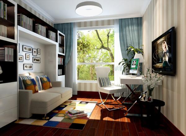 书房实用沙发床从而兼具客房功能,整体色调简单统一