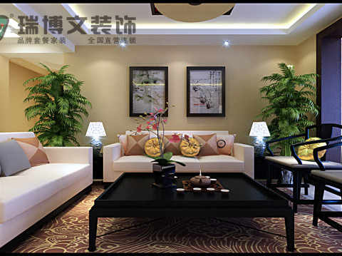 整个角度是沙发背景墙的视角,墙体主色调和沙发色调相辅相成,彼此融合突出,而又不挣不抢把整个中式的宁静突显的淋漓尽致。