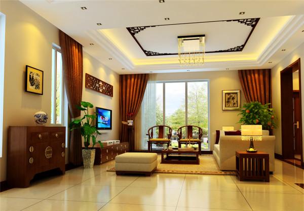 进入大厅,墙面大面积采用米黄色墙纸点缀,加以实木线条的衬托,使整个空间温馨明快,又不失中式情调。天花的吊顶以方形为主,没有过多复杂的造型,简洁大方,与整个墙面的造型起了很好的呼应。