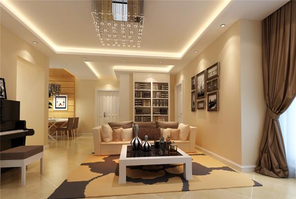设计中一进门可以直接看到客厅的电视背景墙,使空间显得十分通透,大方,舒服。整个空间以浅咖啡色和暖黄色为主色调,配合柔和的灯光,让人感觉家的温暖。