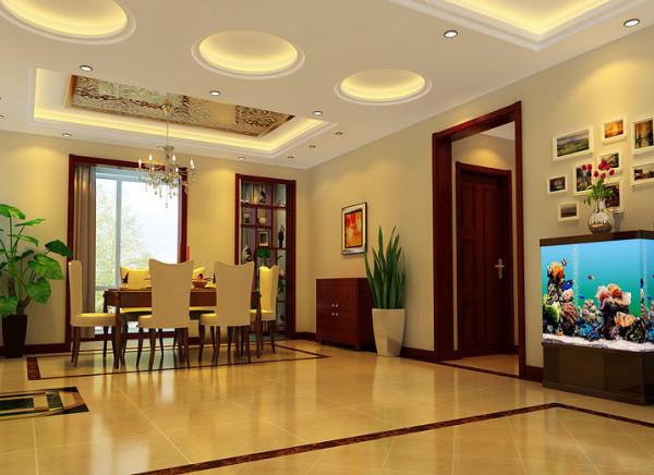 米白色的餐厅背景墙制造出很多温馨的气氛,与纯洁的白色相搭配,亮白色的餐桌,欧式座椅,营造出简约不简单的视觉效果。同时餐厅背景墙通过框画的修饰,增强其整体的丰富性,给进餐气氛增加更多情趣。