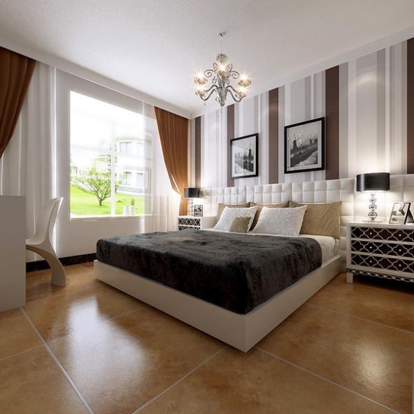 主卧 温馨舒适 由于整个房屋的空间并不是很大,所有主卧室没有做过多的复杂装饰,顶面以简单的石膏角花做装饰,墙面采用暖色系的墙面漆,使整个卧室不会显得单调呆板。为业主创造了一个温馨舒适的休息环境。