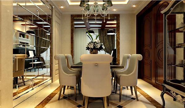 餐厅镜面墙设计的出现,放大场域视感,增添了整个空间的层次感与空间感;素雅色彩的餐桌椅设计,又给人一种雍容华贵的感觉。