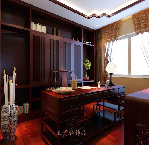 书桌、书柜、椅子、字画、笔筒等,都是中式书房必备的,宽敞的窗户和良好的照明,使得颜色较重的中式书房没有陷于沉闷阴暗中,却显书房的清幽。