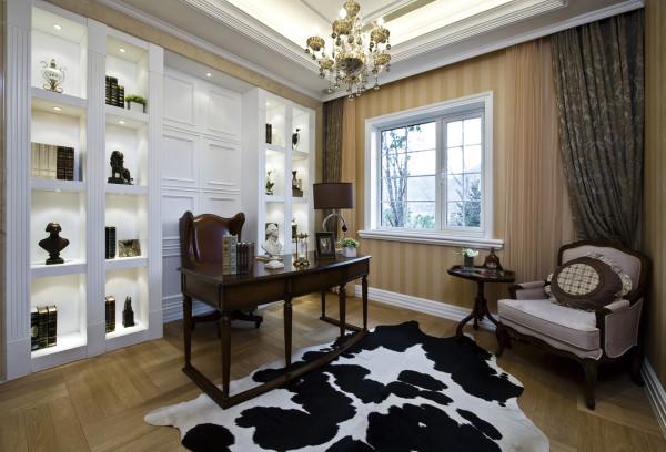 【成都实创装饰】独栋别墅—欧式风格 装修参考—整体家装—书房装修效果图