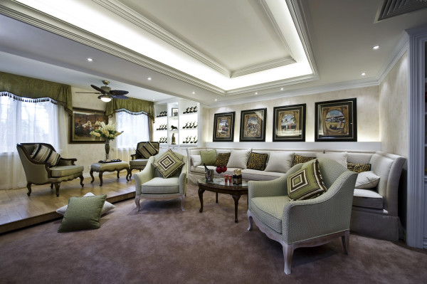 【成都实创装饰】独栋别墅—欧式风格 装修参考—整体家装—会客室装修效果图