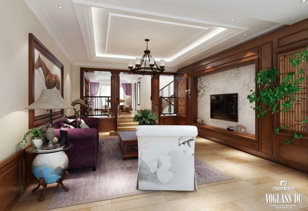 """客厅设计以""""荷""""为题,随处可见自然木色,以及荷花荷叶点缀,或配以淡紫淡绿,使室内空间更加生机,不似传统中式的严肃,让家里处处见景,处处是景。"""