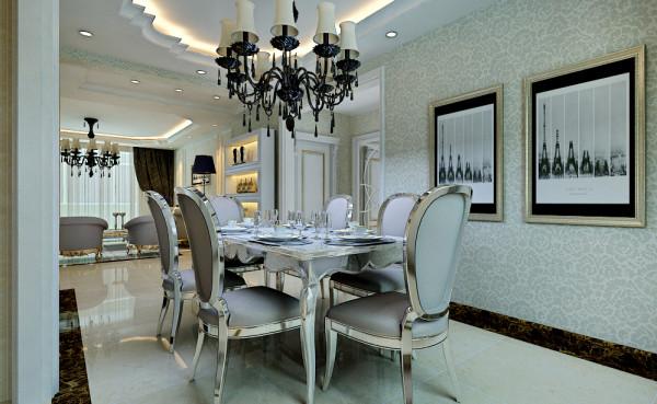 欧式餐桌和椅子,外加采用大理石地面,配合吊顶设计更显得突出餐厅的华丽和高贵品质。