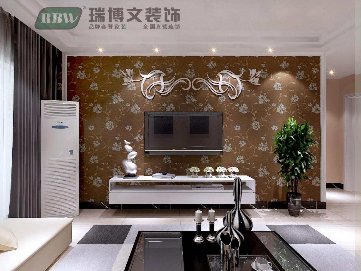 应老人要求,电视墙做的很简单,欧式石膏线做框架,用壁纸打底,上面用
