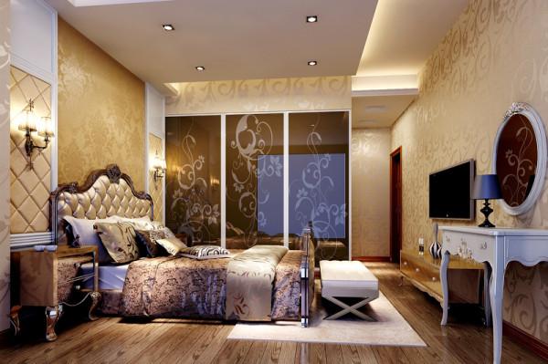 卧室背景以软包和墙板结合,显得高贵典雅,顶上无主灯设计显得比较时尚