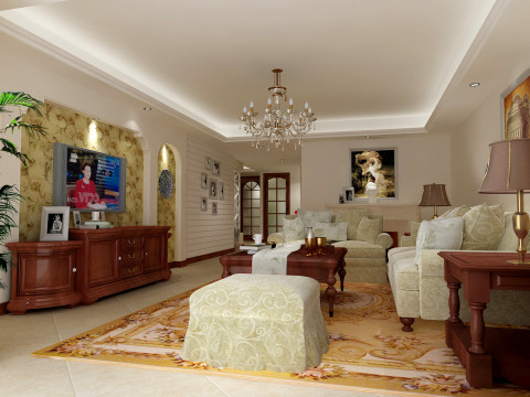 客厅采用的事回型吊顶,配上水晶灯,再加上舒适的沙发,简单的电视背景墙,让人看起来特别舒服