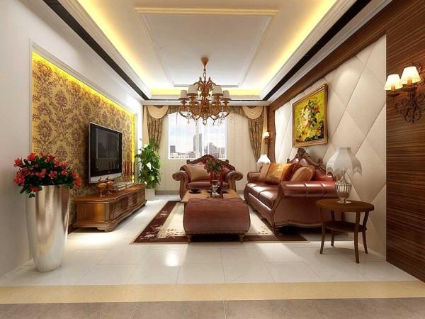 为了让空间符合现代人的审美,将各种欧式元素进行 提炼简化,使欧式风格在这个空间中得以实施;用暖色的墙纸,欧式线条将整个 空间统一起来,透露出最贵的气息,造型元素则简练而大方。